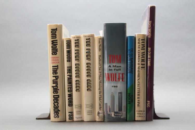 9 books by Tom Wolfe, 5 signed, 6 firsts.