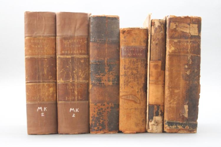 6 Vols: Maryland laws books, 1801-1852.