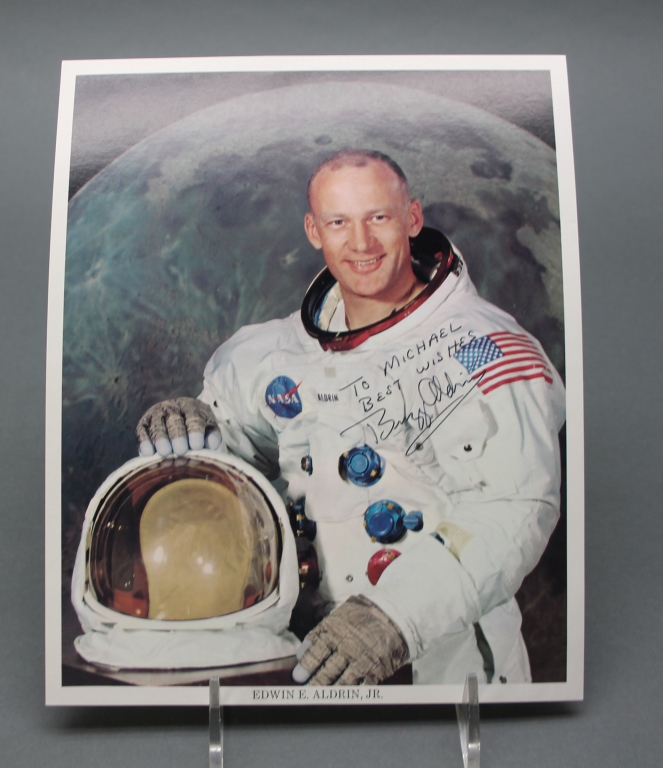 Buzz Aldrin. Signed, inscribed photograph.