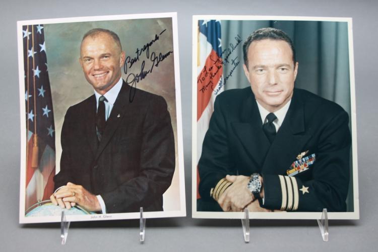2 sgd, inscr photos: John Glenn + Scott Carpenter.