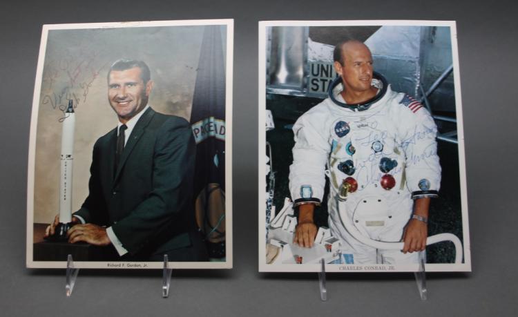 2 inscribed photos: Astronauts. Conrad + Gordon.