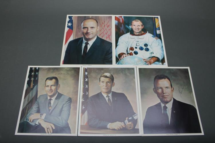 5 photos signed by astronauts: Stafford Slayton...