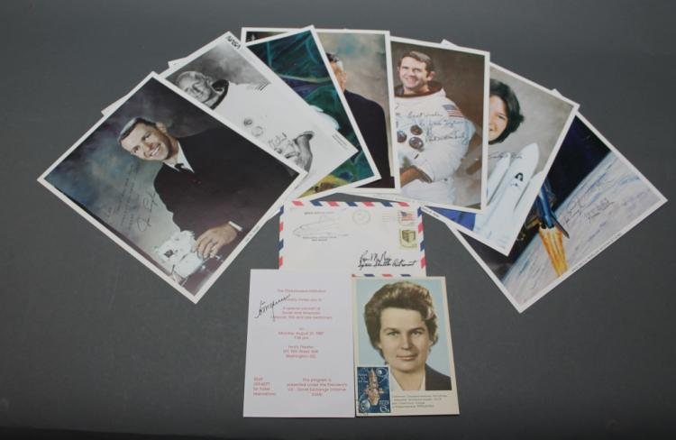 9 photos/documents: 8 signed by NASA astronauts.