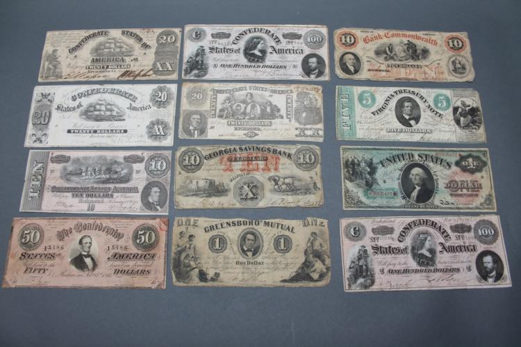 12 Currency notes: Confederate, Virginia, etc.