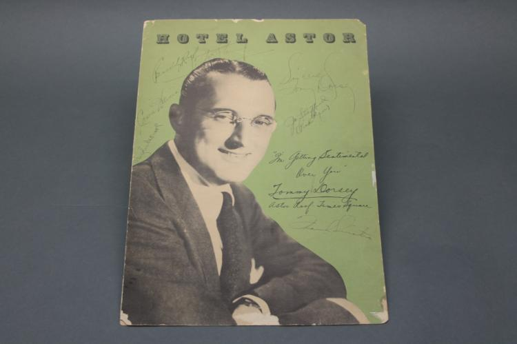 Hotel Astor menu signed by Frank Sinatra, 6 others