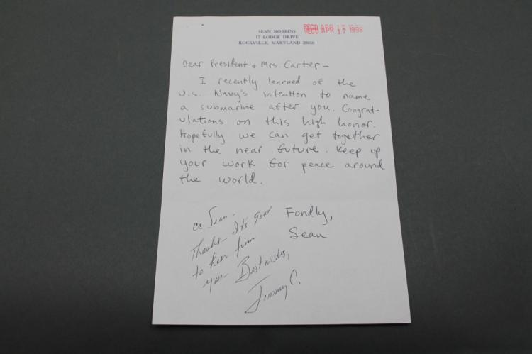 Jimmy Carter: Signed inscription, incoming letter.