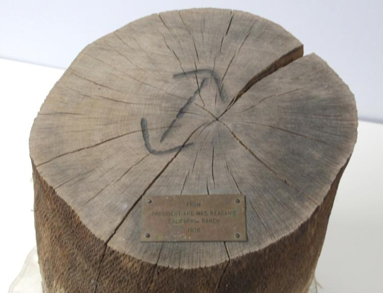 Ronald Reagan Ranch Branded Tree Stump w/ Plaque