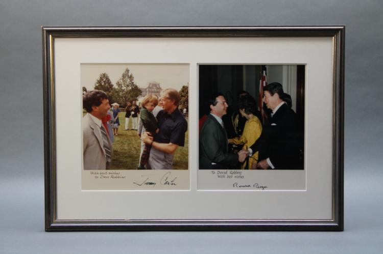 2 signed photographs: Ronald Reagan + Jimmy Carter