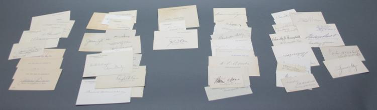 45 signature cards: Cabinet members, 1900-1933.