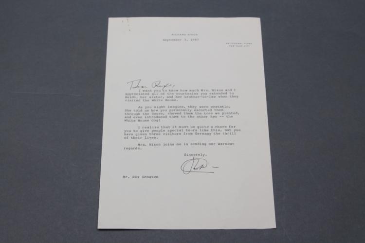 Richard Nixon. 4 TLsS to Rex Scouten. 1965-1987.