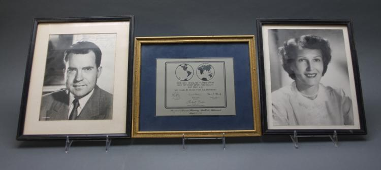 7 items incl photo inscribed by Richard Nixon.