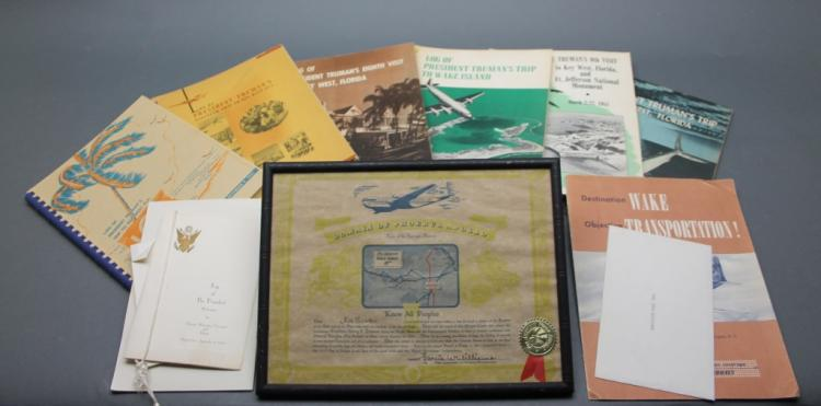 10 Items: Truman travel. Rex Scouten collection.