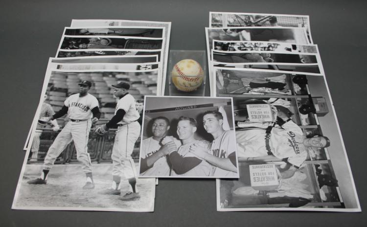 14 Rickerby baseball photos w/ Duke Snider sgd ball
