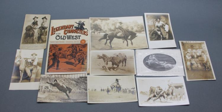 11 Wild West & Rodeo items: 8 real photo postcards