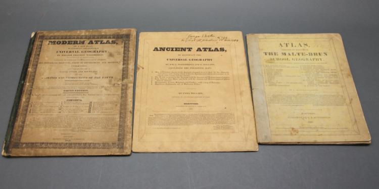 3 school atlases, 1827-1836.