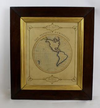 1849 Western Hemisphere map in orig. frame
