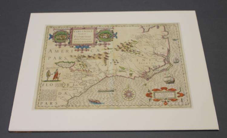 Hondius 1628 map of Virginia and the Carolinas