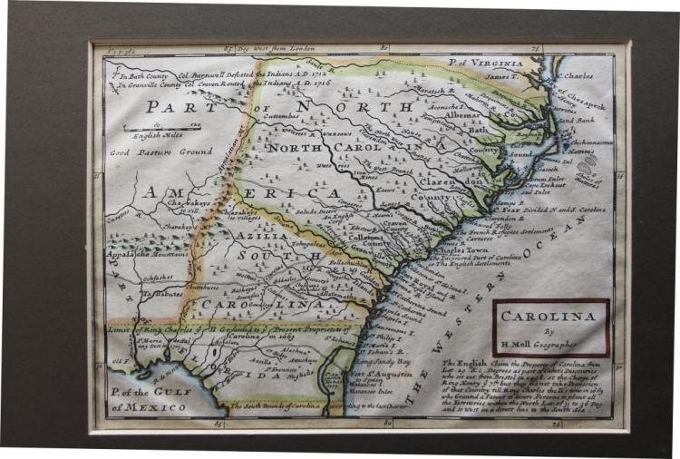 Herman Moll map: CAROLINA shows NC, SC and FL