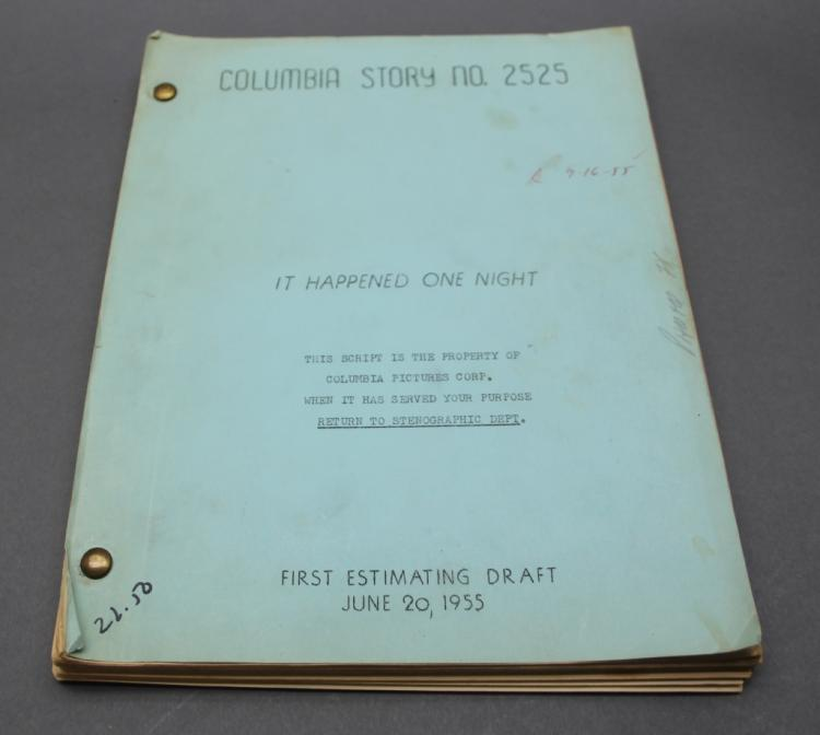 IT HAPPENED ONE NIGHT. Steno typescript 1955 movie