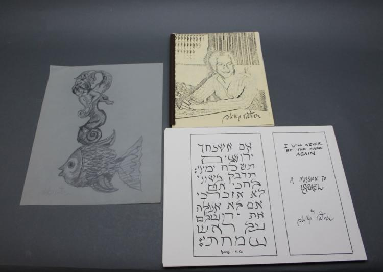 Phillip Rattner portfolio w/ original drawing.