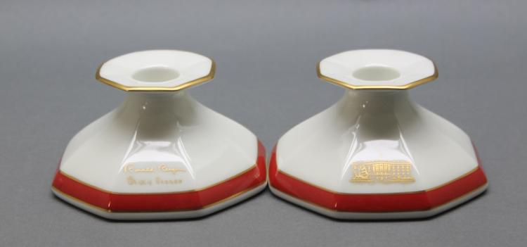 Reagan 1987 Christmas Lenox Candlesticks orig. box