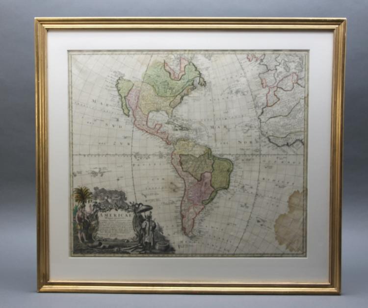 AMERICAE MAPPA GENERALIS. Homann's Heirs, 1746.