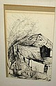Ink on paper of aging barn
