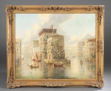 JAMES SALT, VENICE CANALS, 19TH C., O/C.