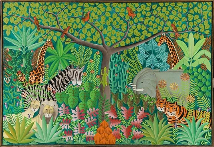 Gabriel Alix (Haitian 20thC) o/c jungle scene.