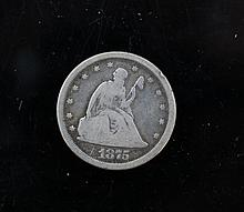 US 1875 Twenty cent silver piece. US 1875 Twenty cent silver piece.
