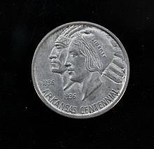 Arkansas Centennial - D 1836/1936 half dollar. A Arkansas Centennial - D 1836/1936 half dollar. 12.5g.