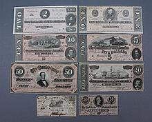 Confederate currency selection of 8 notes Confederate currency, a selection of 8 notes. 1864-1866. Denomination consists of: 10cent note, 50cent note, $1, $2, $5, $10, $20, & $50. In good condition, all bills are crisp with minimal soiling.Condition:
