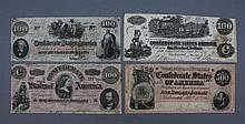 Confederate currency selection of 4 notes Confederate currency, a selection of 4 notes.  1862-1864. Denomination consists of: three $100 and one $500.  In fair condition, all bills have minimal soiling and some ware to edges.
