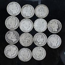 A lot of Barber Head Half Dollars. A lot of 14 Barber Head half dollars. 2 1906-O, 1908-O, 1907-D, 1910-S, and 1914-S.