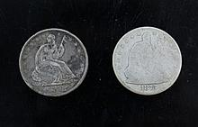 A couple of Seated Liberty half dollars. 2 Seated Liberty half dollar. 1858 and 1875.