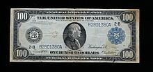 Fr. 1088 $100 1914 Federal Reserve Note Fr. 1085 $100 1914 Federal Reserve Note.  In good condition, significant creasing, some soiling, and good margins.