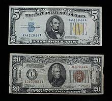 2 Emergency Notes 1934A $5 & 1934A $20 A set of 2 Emergency Notes. ++ One Fr. 2307 1934A $5 World War II Emergency Star Note. ++ One 1934A $20 Federal Reserve Hawaii Overprint note. Two small overprints to each side of the obverse and one HAWAII