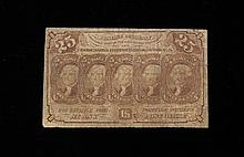 1862, 25c Postage Currency 1862, 25c postage currency.  In fair condition, this with a good amount of creasing.