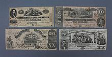 Confederate currency selection of 4 notes Confederate currency, a selection of 4 notes.  1861-1864.  Denomination consists of: $2, $10, and two $20.Condition: In fair condition, fragile paper. Some soiling and creasing.