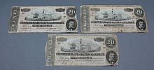 Confederate currency 3 $20 notes Confederate currency, a selection of 3 $20 notes. 1864. Richmond, VA.  In fair condition, with significant amount of creasing, edgeware and staining.
