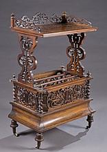 Victorian Rococo Revival burl walnut music stand.