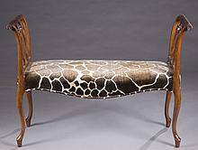 George III style mahogany bench w/giraffe.