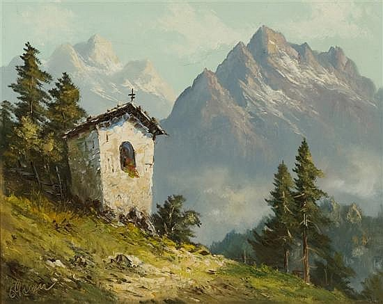 Greyer, Ernst (Austria, 1907-1983). European mountain scene with small chapel.