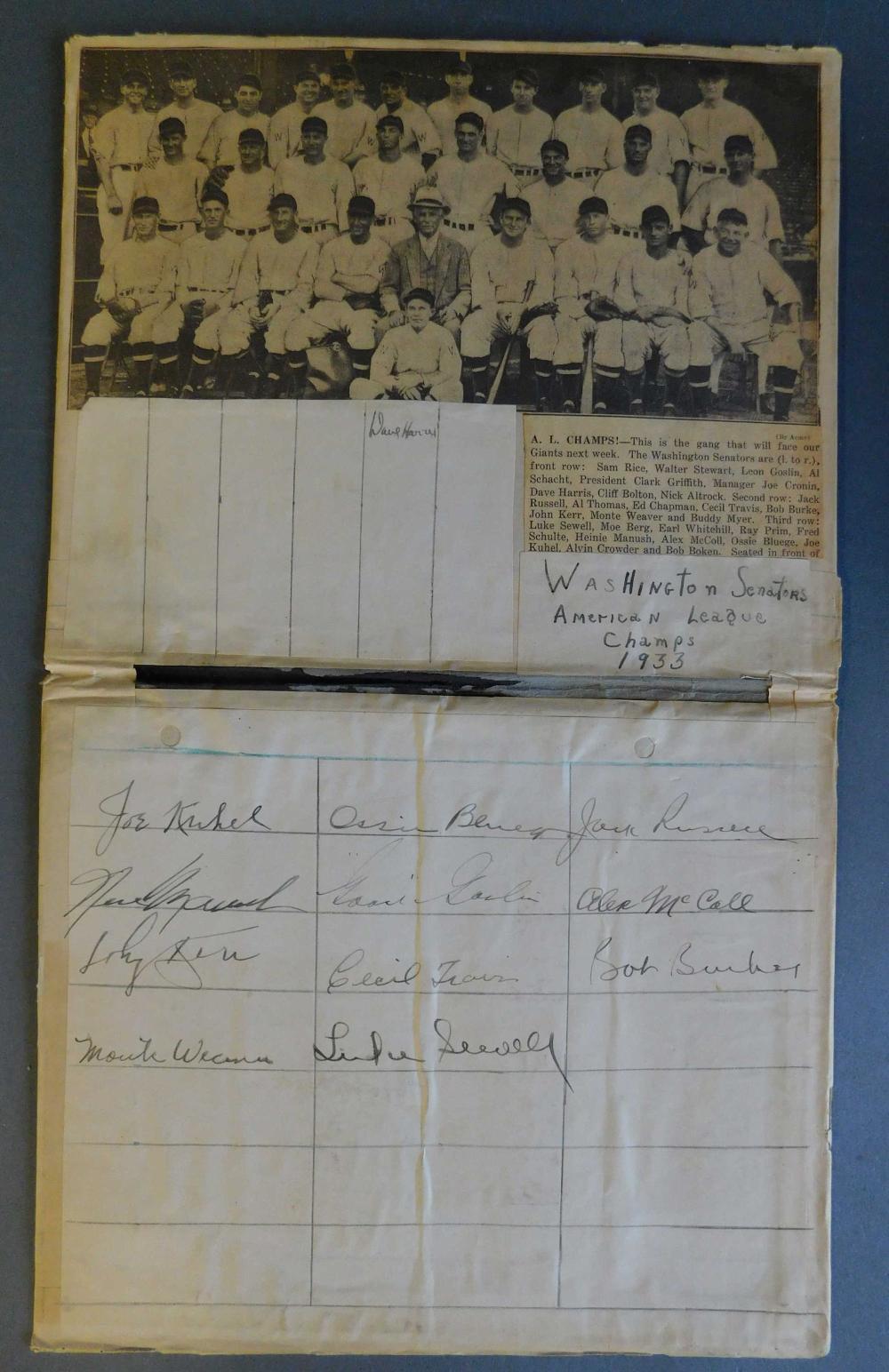Washington Senators Autographs.