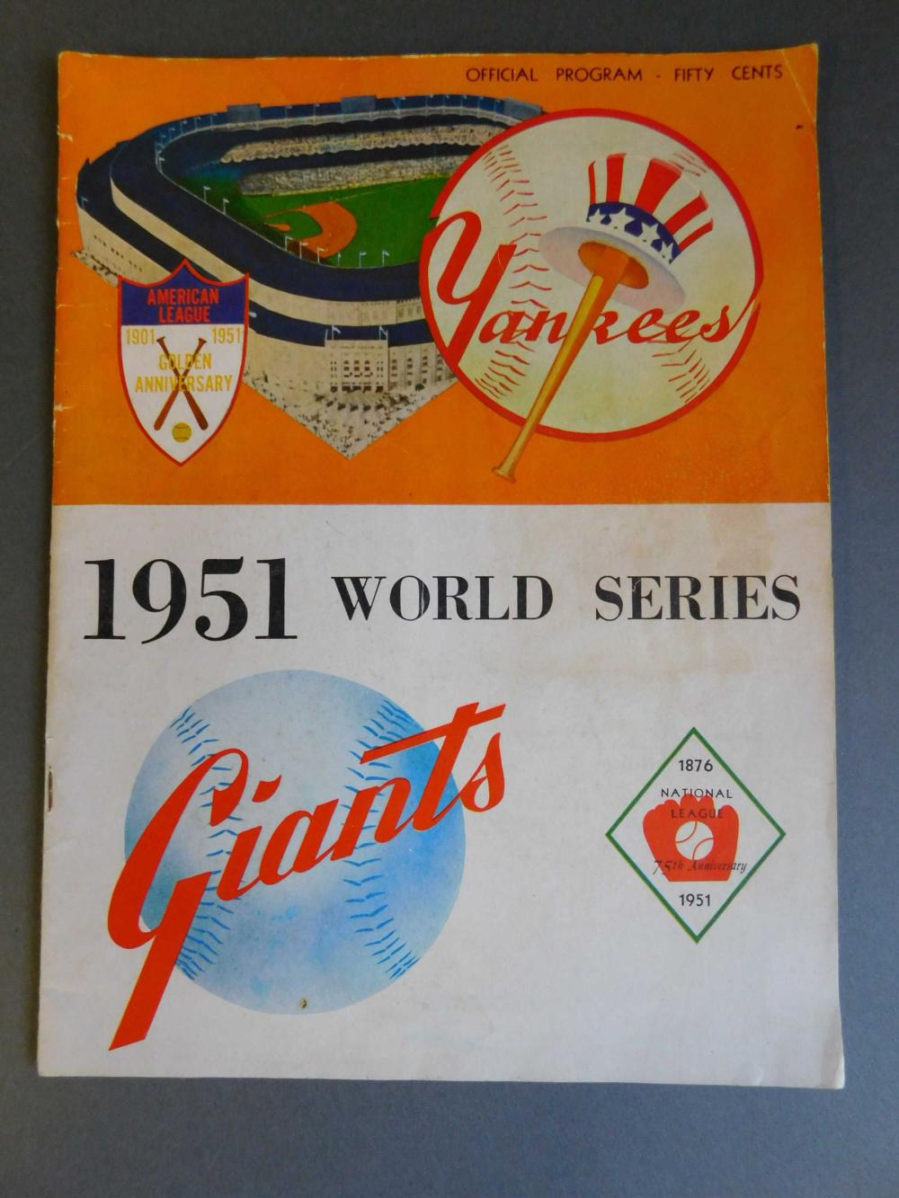 1951 World Series- program signed by 16 players.