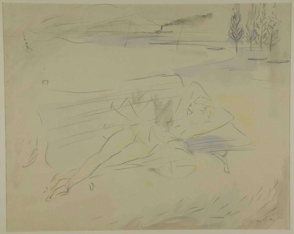 Marcel Vertès. Reclining Dancer. Drawing. c.1940.