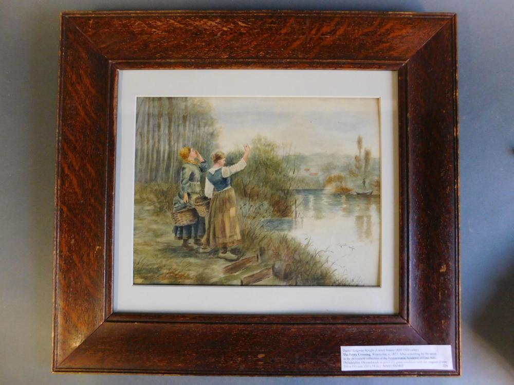 Watercolor after Ridgway-Knight. Framed.