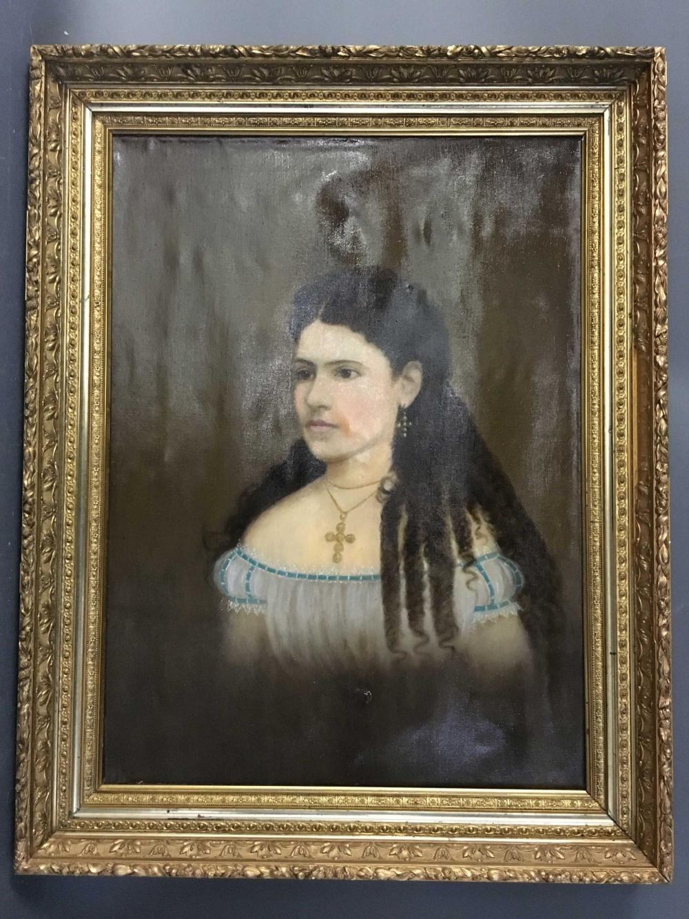 O/C portrait of a woman, c. 1800s, Latin American.