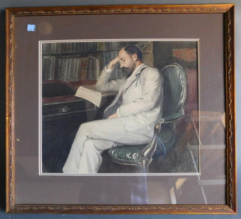 Color lithograph of a man reading. Framed.