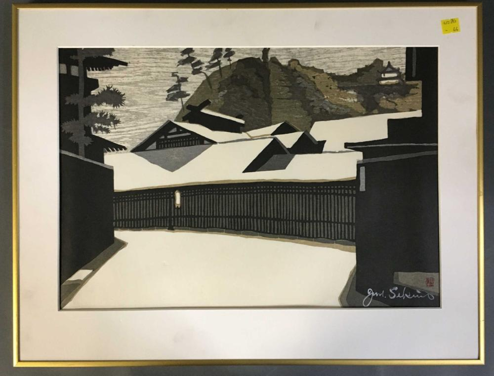 Junichiro Sekino. Color woodblock. Signed. Framed.
